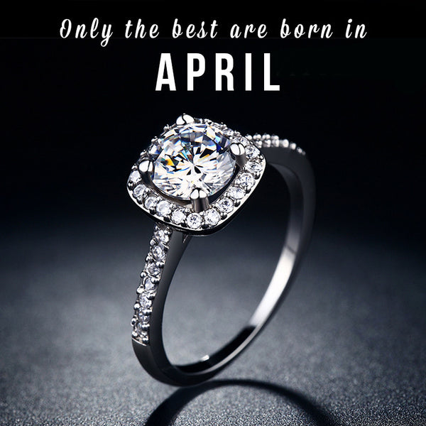 April Birthstone CZ Ring