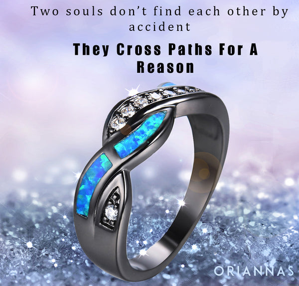 Love Each Other When Two Souls: Twisted Path Blue Opal Ring