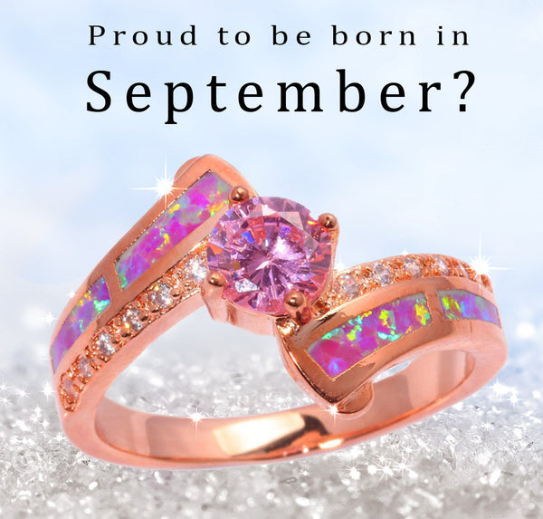 Pink Sapphire Opal September Birthstone ring