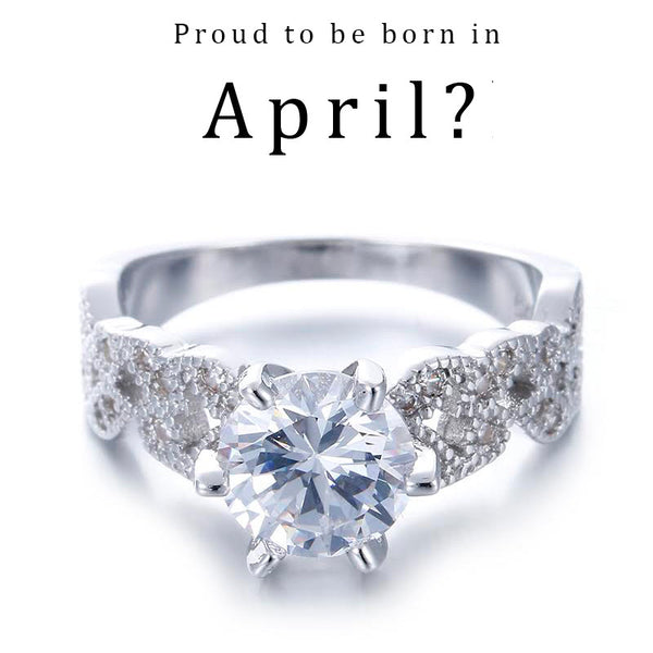 April Birthstone Floral Ring