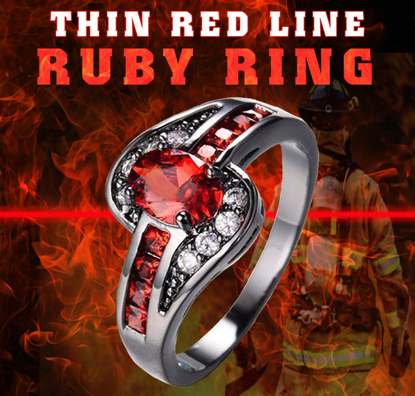 Thin Red Line Ring