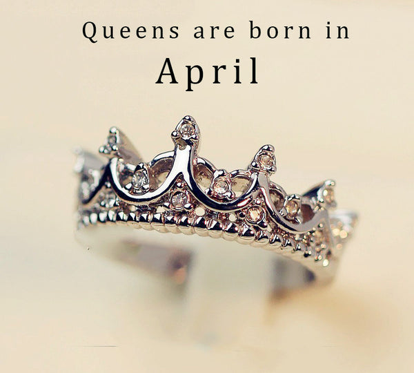 Vintage Queen Crown April Birthstone Ring