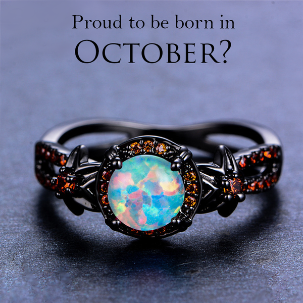 Black Gold Filled Opal October Birthstone ring