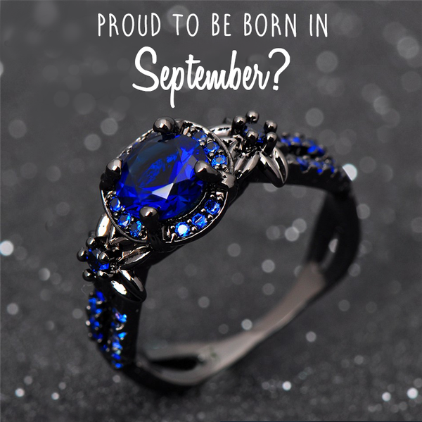 Black Gold Filled September Birthstone Ring