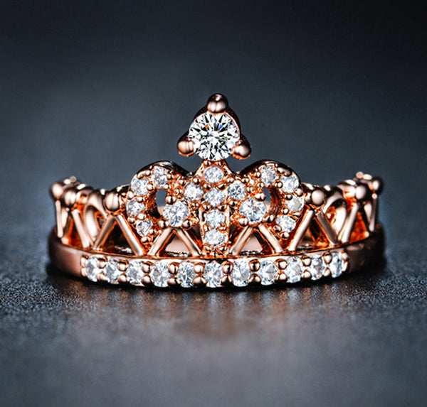 Ornate Queen Crown April Birthstone Ring