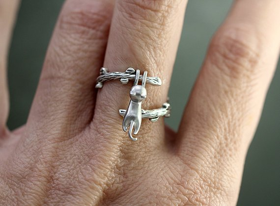 925 Sterling Silver Hanging Cat Ring