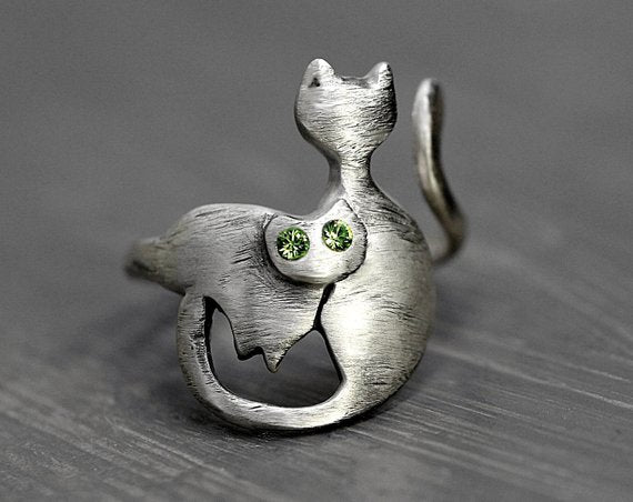 925 Sterling Silver Wrapping Cats Ring