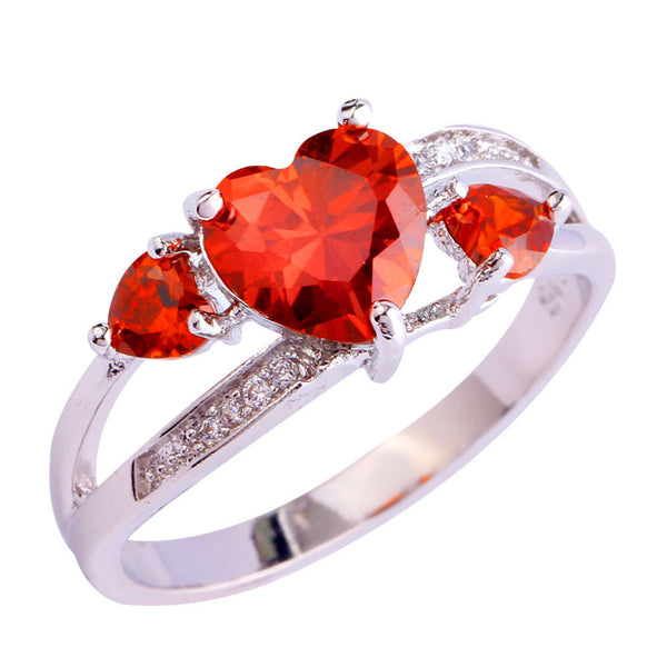 Heart January Birthstone Ring (Garnet)