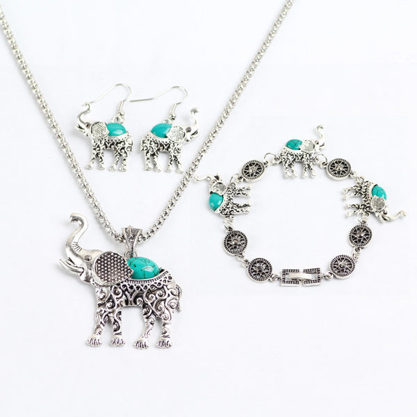 *PREMIUM* Set Tibetan Silver Elephant Necklace