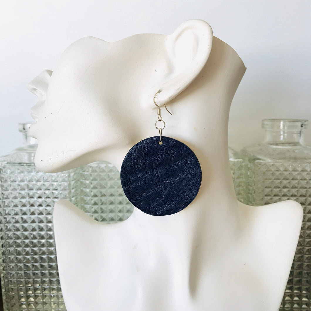 Disco Earings - Navy Merino and Gold