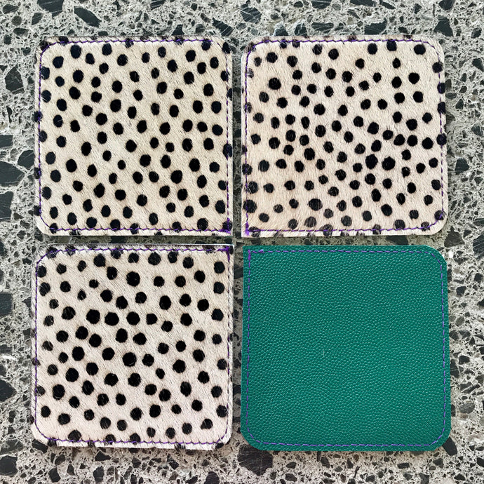 Coaster Set - Cheetah & Teal