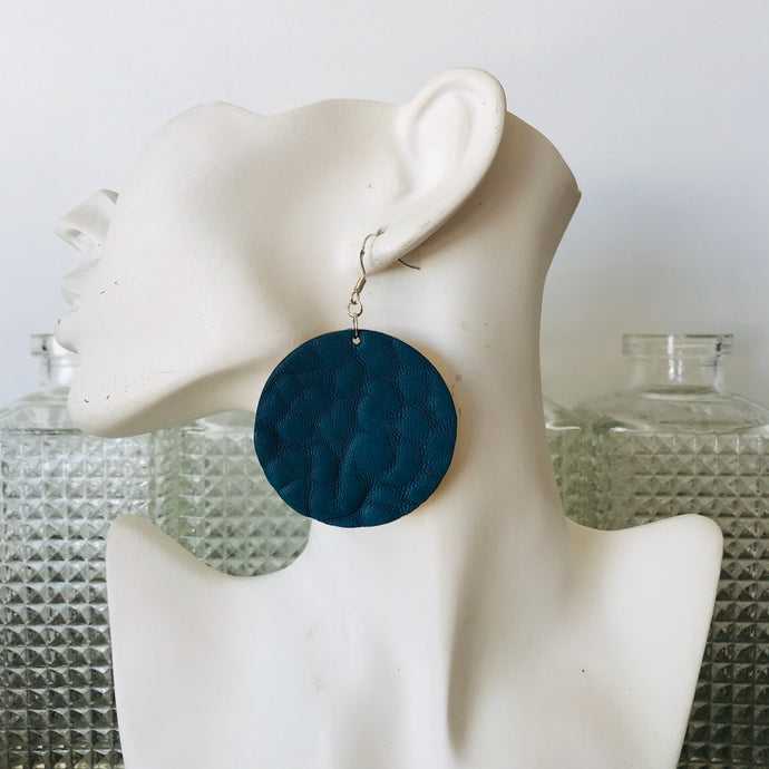 Denim Blue Merino Disco Earings