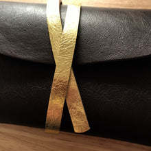 Greta Clutch ~ Darkest Chocolate & Gold