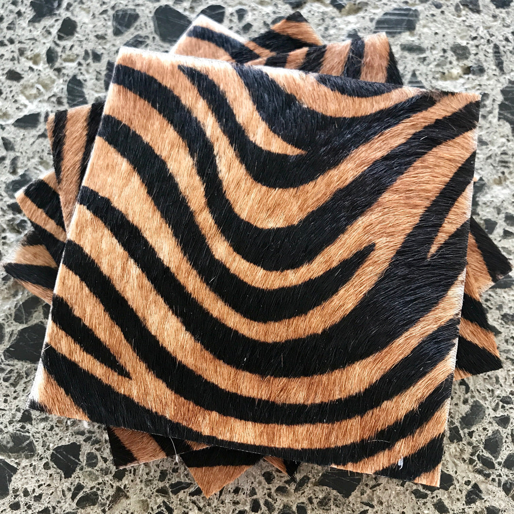 Coaster Set - Tan Zebra & Black