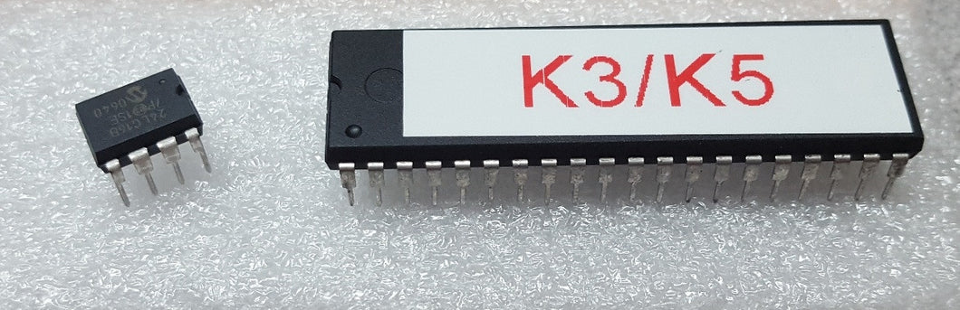 Replacement Idiom Press/Ham Supply preprogrammed processor and EEPROM chips for our K-5, K-3 and CMOS III Keyers. Consists of a single preprogrammed processor chip, and also the EEPROM memory chip.