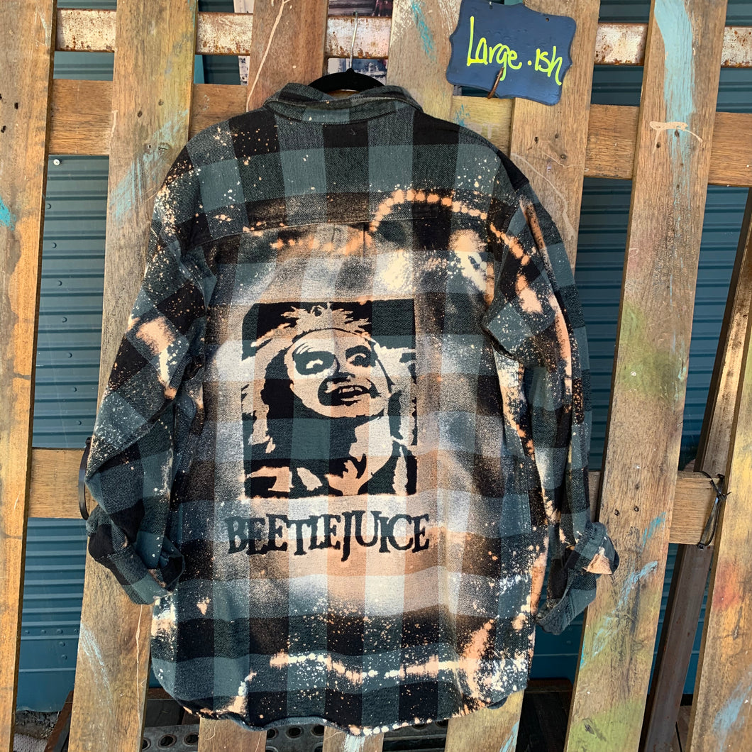 Large Beetlejuice Shadow Flannel