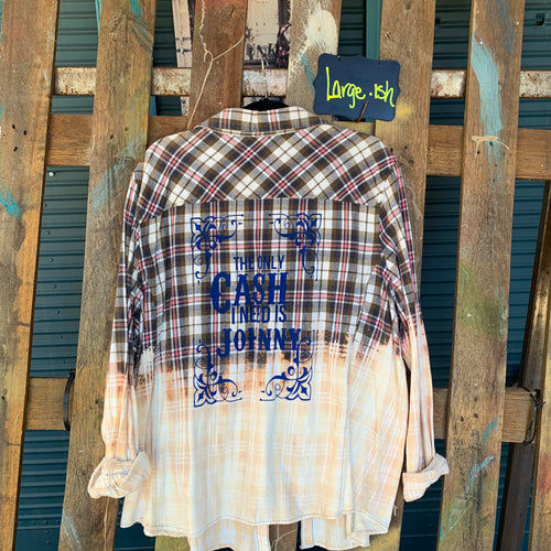 Large Cash Silkscreened flannel