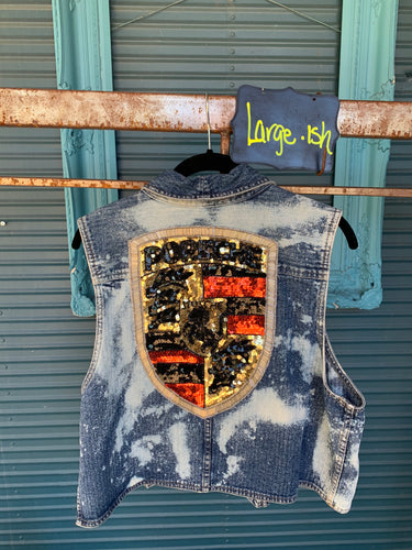 Large Denim Porsche sequined Vest