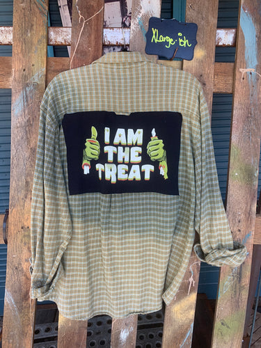 XLarge Treat Halloween Patch Flannel