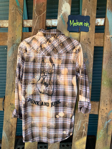 Medium Punk and Junk silkscreened Flannel