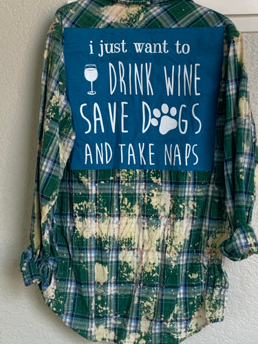 XLarge wine and dogs patched flannel