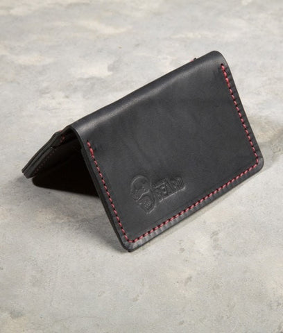 Flagrant Beard Leather Wallet- Black & Red