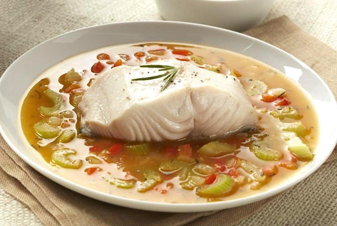 Olive Oil Poached Alaskan Cod with Herb Broth
