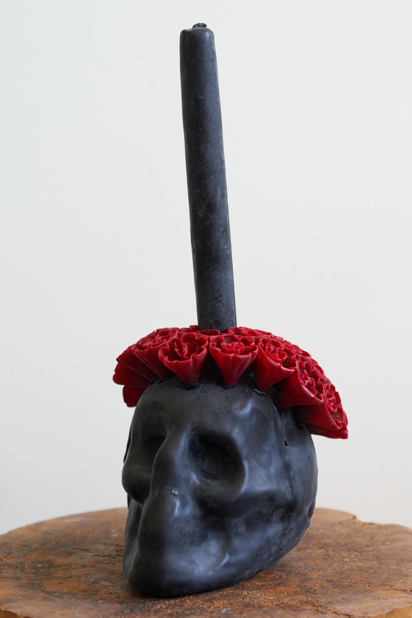 Oaxacan Skull Candle (Color Black and Crimson)