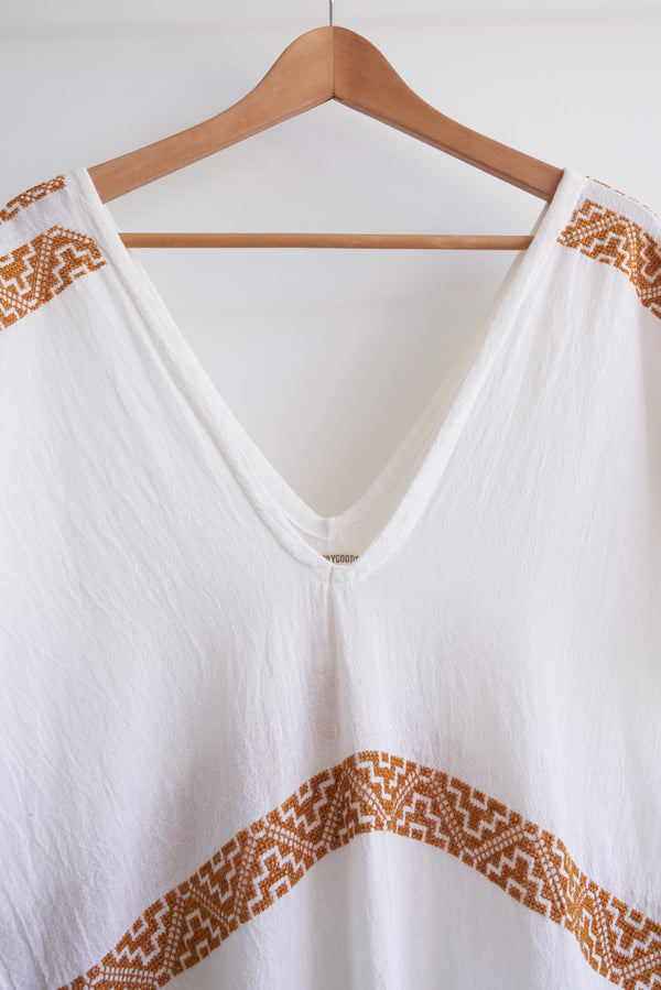 JM + San Vicente Summer Poncho Cover-Up (Color Terra-Cotta Embroidery)