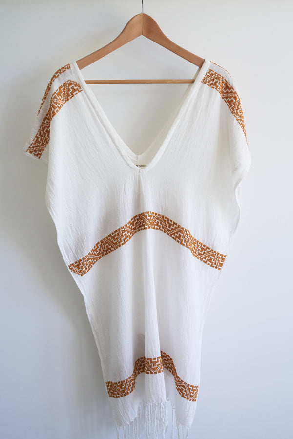 JM San Vicente Summer Poncho Cover-Up (Color Terra-Cotta Embroidery)