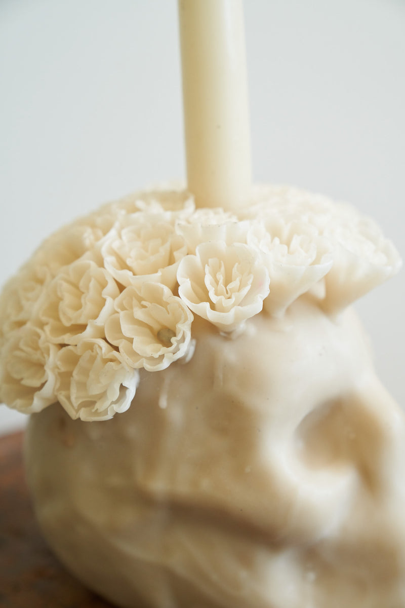 Oaxacan Skull Candle (Color Ivory)