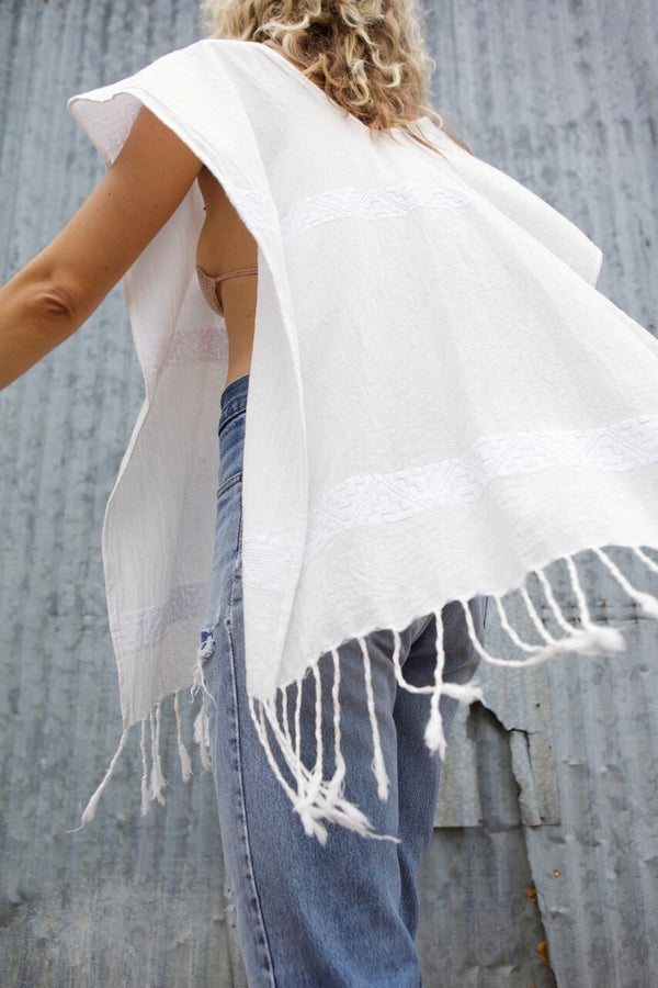 San Vicente Embroidered Poncho Cover-Up