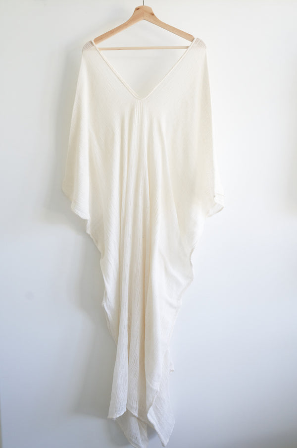 Khadi Oaxaca Kaftan Mid-Long-Length (Natural white)
