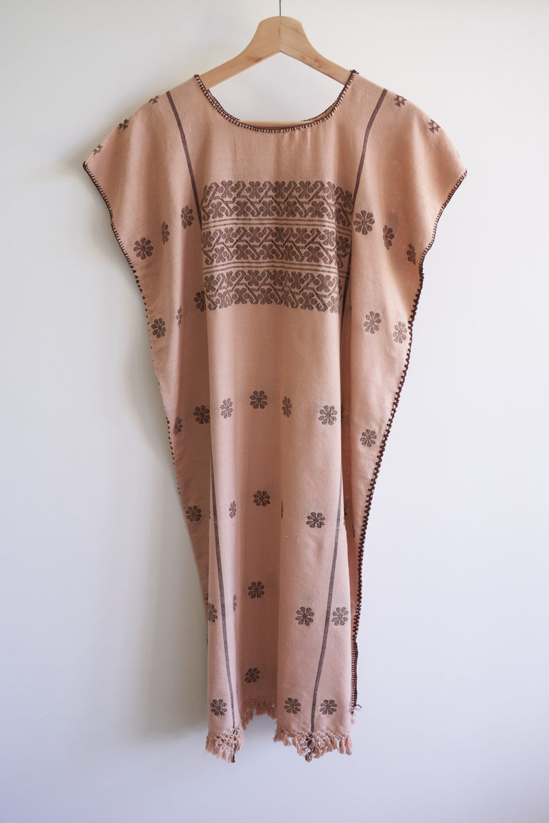 Amuzgo Huipil with Fringe (Color Peach with Cocoa)