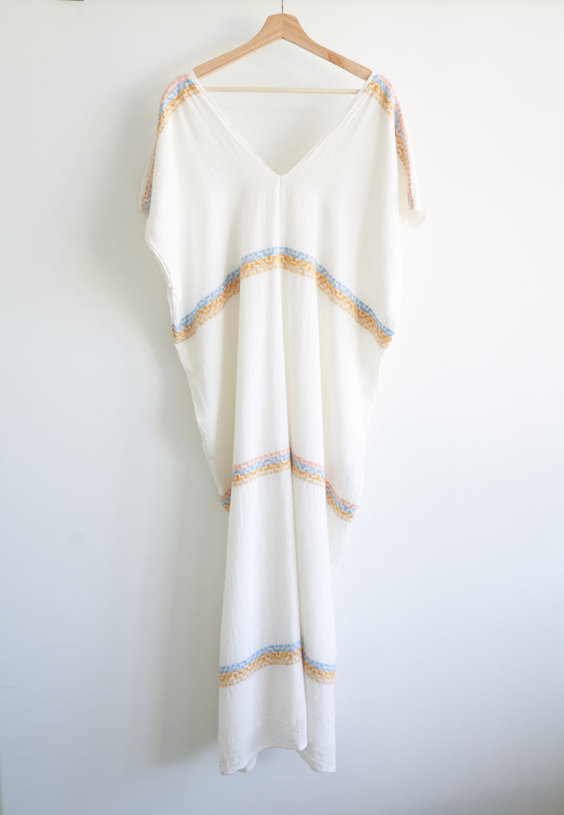 JM + San Vicente Embroidered Opaque Caftan (Sunrise)