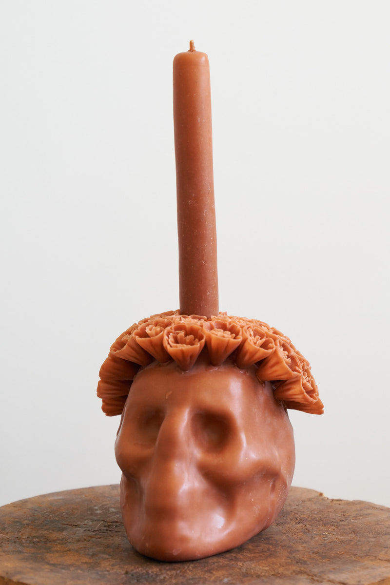 Oaxacan Skull Candle (Color Terra-cotta)
