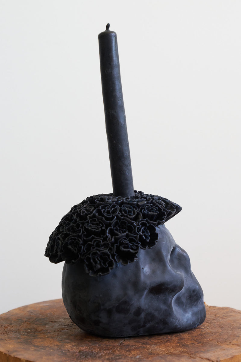 Oaxacan Skull Candle (Color Black)