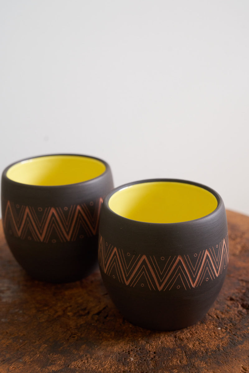 Large Oaxacan Cups- Dark Chocolate with yellow interior and zig zag etching