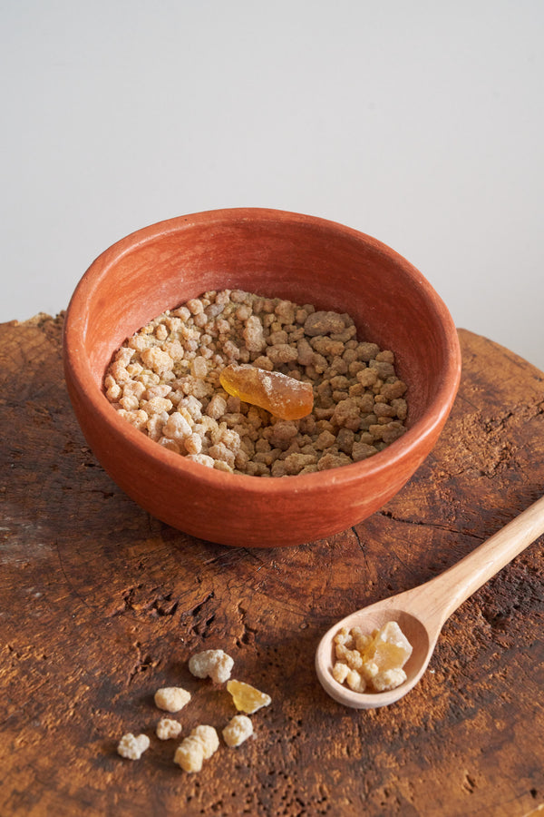 Hand crafted ceramic bowl (barro rojo) filled with Copal incense resin