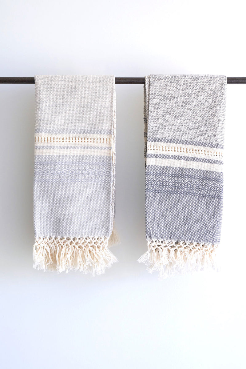 Oaxacan hand towel with fringe-pale blue