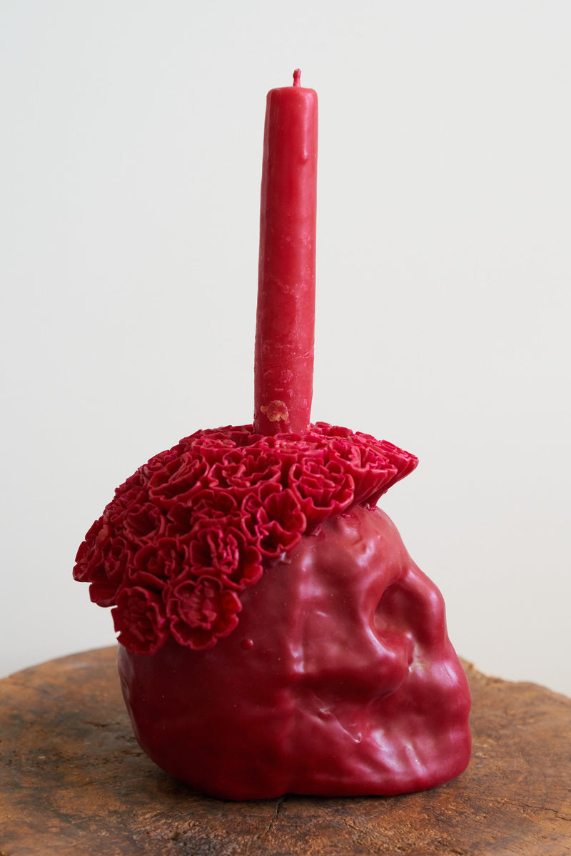 Oaxacan Skull Candle (Color Crimson)