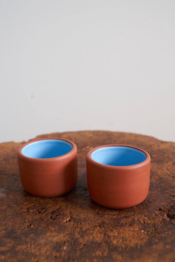 Spice bowls- Set of 2- Terra-Cotta with Blue Interior