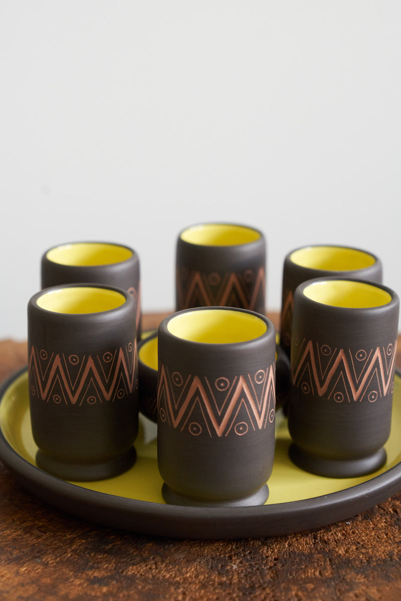 Mezcal Set by Vicente Hernandez (chocolate with yellow Interior)