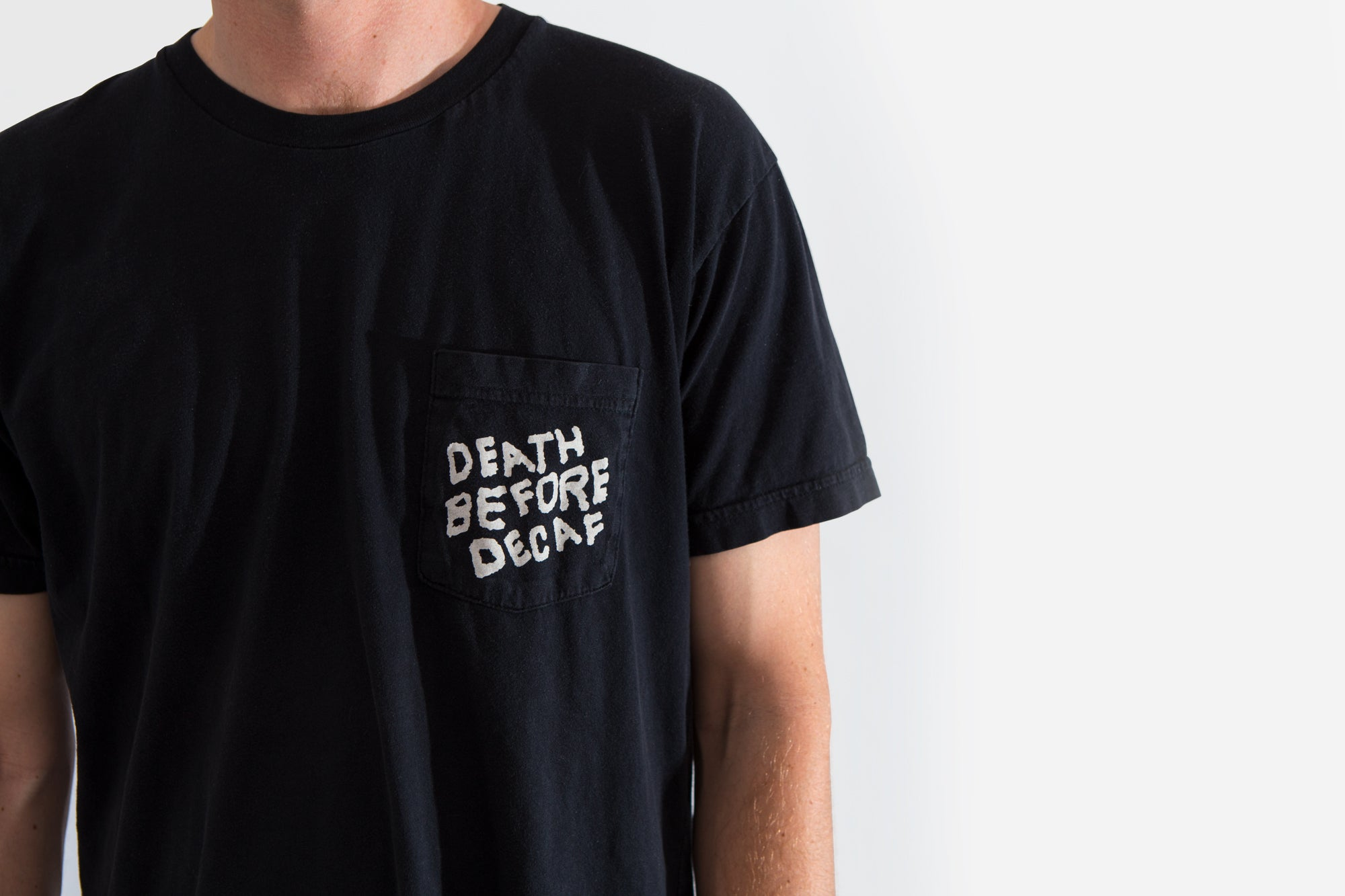 Death Before Decaf Pocket Tee