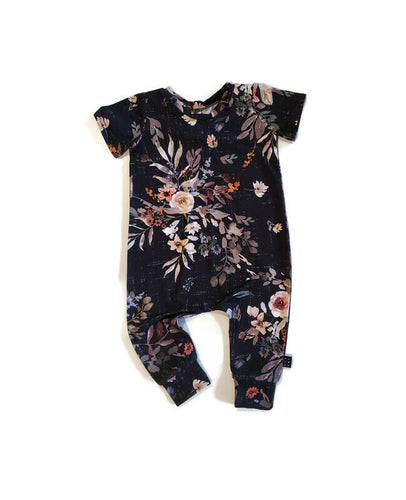Urban Bamboo Romper - Midnight Floral - Urban Baby Apparel
