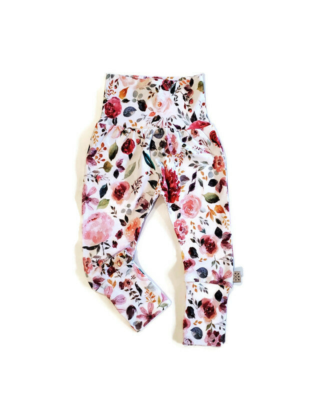 Grow Along Organic Joggers - Spring Bouquet - Urban Baby Apparel