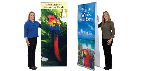 "Flexi Single and Double Sided Stands 24"" to 48"" wide by up to 94"" tall"