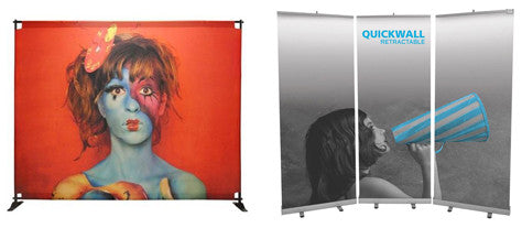 Back drop banners and in-line retractables can make for great displays even on a budget