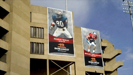 Pictures of sports arenas / /stadiums using Ackland Media Banner Frame Systems