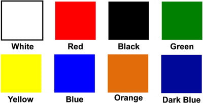 Common Stock Colors for window vinyl graphics